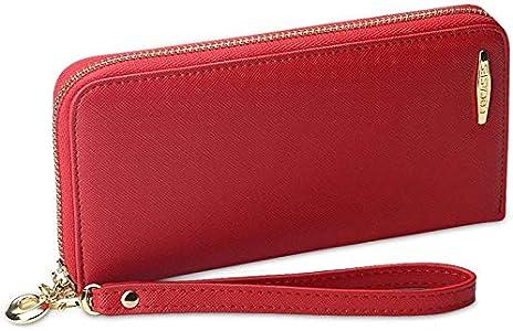 COCASES Monederos Mujer Cartera de Mujer de Gran Capacidad de Cuero de Mujer con RFID Bloqueo Bolsos Largo de Mujer con Cremallera de Bolsillo (Rojo)