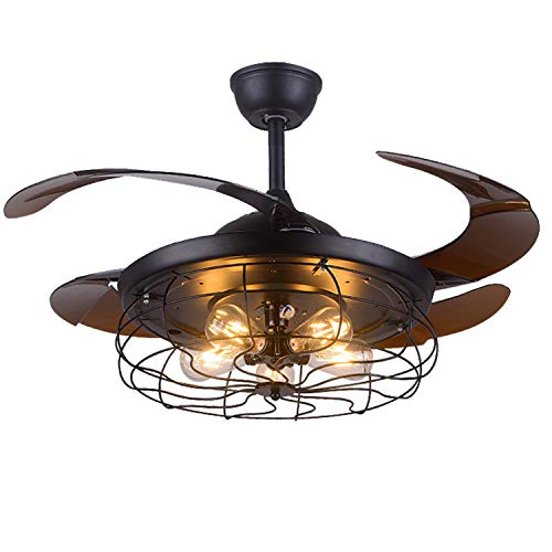 Industrial Retractable Ceiling Fans with Lights 42inch...