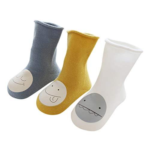 DEBAIJIA 3 Pares de Calcetines para Bebés Unisex Suave Elástico Calcetines Algodón Cálido Lindo Colorido Respirable Antiestático Anti-Sensible Regalo para Bebés de 1-3 años - Azul Amarillo Blanco - M