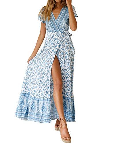 MINTLIMIT Kleider Damen Boho Sommerkleid Blumen V-Ausschnitt Kurzarm Wrap Split Maxikleid Vintage Standkleid Blau 1 M