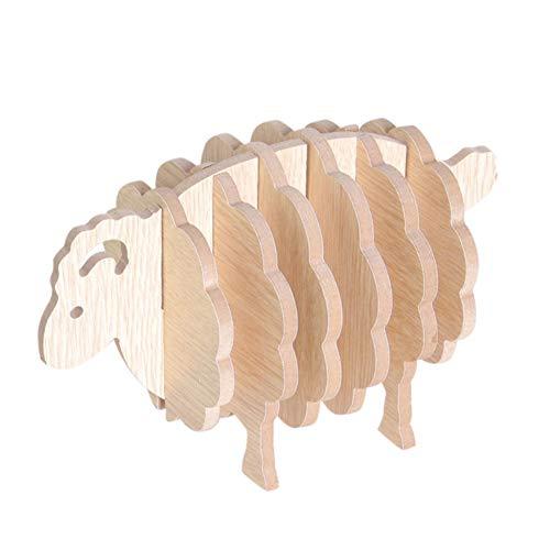 Macabolo Geschirr-Platzset, süßes Holz-Schaf Form Scheibe Untersetzer Untersetzer Tee Kaffee Becher Getränkehalter
