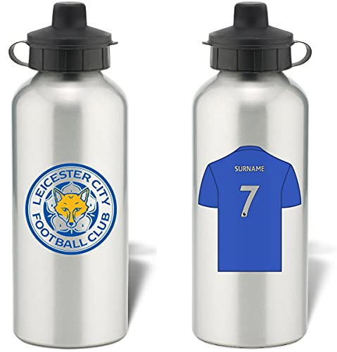Personalised Leicester City FC Shirt Aluminium Sports Water Bottle - Silver Bottle