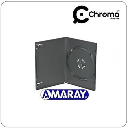 Amaray - Fundas para discos DVD (simples, 14mm, 25 unidades), color negro