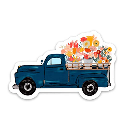Old school truck with flowers sticker | Inspirational decals | Waterproof vinyl stickers for a hydro flask, laptop, etc