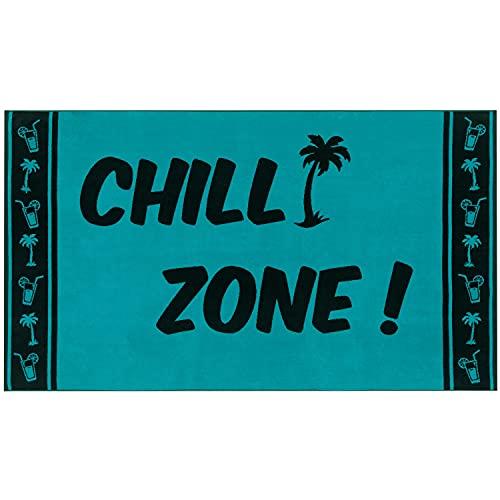 Delindo Lifestyle® Frottee Strandtuch Tropical CHILL Zone TÜRKIS, 100% Baumwolle, Strandlaken ist 100 x 180 cm groß