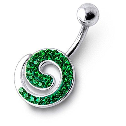 Jeweled Spiraal Multi kristallen sterling zilver buik bars piercing