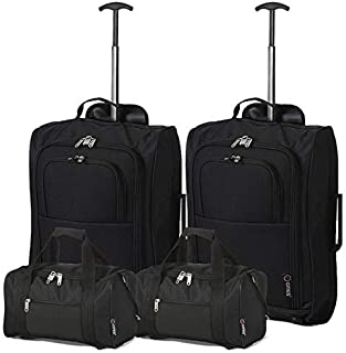 comprar comparacion 5 Cities - Ryanair Cabin Approved Main & Second Hand Luggage - Carry On Both Equipaje de mano, 54 cm, 42 liters, Negro (Bl...