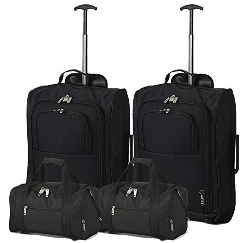 5 Cities - Ryanair Cabin Approved Main & Second Hand Luggage - Carry On Both Equipaje de mano, 54 cm, 42 liters, Negro (Black), conjunto de 2 trolley y 2 bolsas (total: 4)