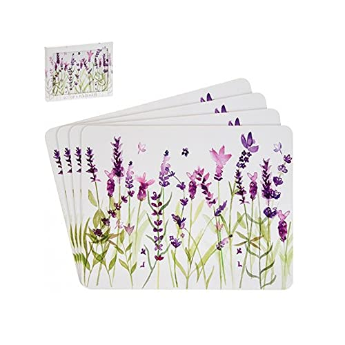"""JJA Purple Lavender Placemats Pack of 4, """"Purple Floral cork backed Place Mats, Non-Slip Washable Dinner Table Mats for Dinning, Kitchen – Indoor, Outdoor Dinner Table"""