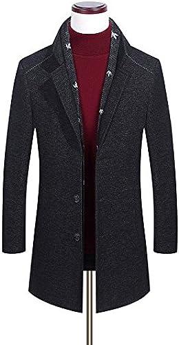 Fvbuhhi Manteau de Laine, Manteau d'hiver, Long Manteau, d'age Moyen Quotidien Laine Coupe - Vent,noir,XXL