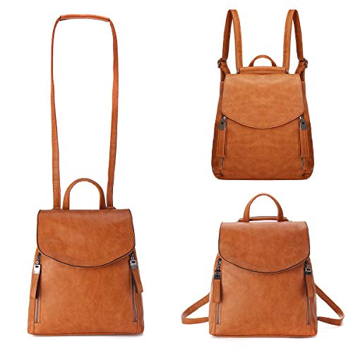 JOSEKO Women Backpack, Leather Flap Backpack Purse Casual Daypack for Ladies College Girls with Adjustable Straps Size: L