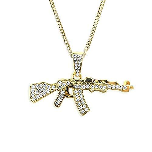 NC190 Collar para Hombre, Collares con Colgante de Pistola de aleación Personalizada, Collar de Oro de Cadena Larga con Diamantes de imitación Helado, joyería de Hip Hop para Hombres y Mujeres