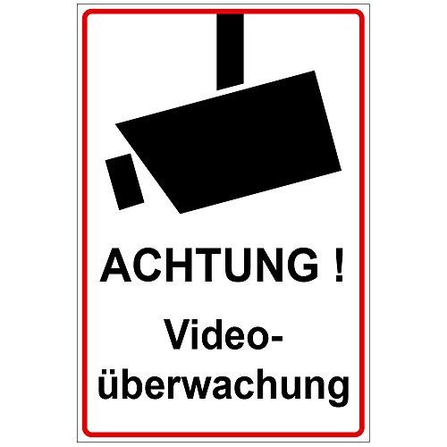 Aluminium plaat Waarschuwing videobewaking van Dibond 200x300 mm - 3 mm dik