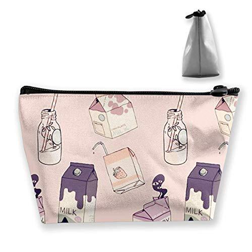 Make-up-Tasche Kosmetiktasche Milchflasche rosa tragbar Kosmetiktasche mobil Trapez...