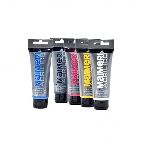 Maimeri Acrilico Set 5 Tubi da 200ml. Colori PRIMARI:Bianco, Nero, Blu Ciano, Rosso Magenta, Giallo PRIMARIO