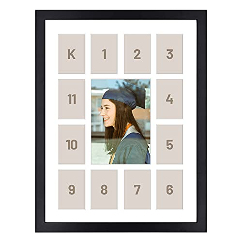 12x16 Black Wood Frame - 13 Opening White Mat - Displays One 5x7 Photo and Twelve 2.5x3.5 Pictures - Collage Frame - Real Glass, Sawtooth Hangers, Swivel Tabs - Wall Mounting, Landscape, Portrait