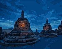 大人のための数字キットでペイント大人のためのDiy油絵ギフトキット初心者ギフトを飾るナイトビュー建築記念碑40X50Cm