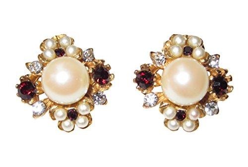 Ohr-Clips weiße Perlen rote Granat-Steine kleine Strass-Steine dekorativ Silber vergoldet Handarbeit Retro Vintage Antik-Look Unikat Italien Geschenk