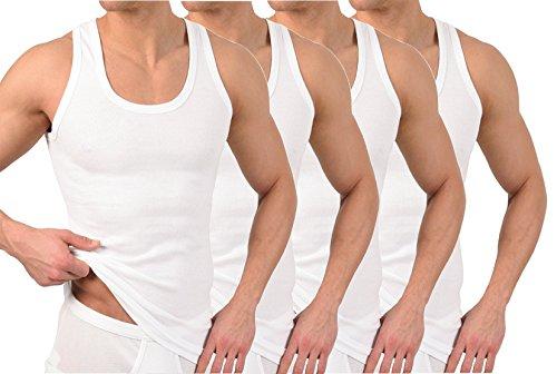 BestSale247 - Pack de 2 o 4 camisetas clásicas para hombre, camisetas interiores, camisetas de tirantes en blanco, negro o gris jaspeado, 100% algodón Blanco Medium