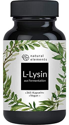 L-Lysin - 365 Kapseln - Aus pflanzlicher Fermentation - Laborgeprüft, ohne unerwünschte Zusätze, hochdosiert, vegan
