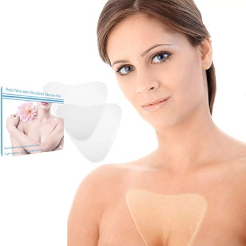 Anti Wrinkle Chest Pads - Set of 2 Reusable Decollete Pads | 100% Medical Grade Silicone | Reduce, Remove and Prevent Wrinkles and Aging Skin
