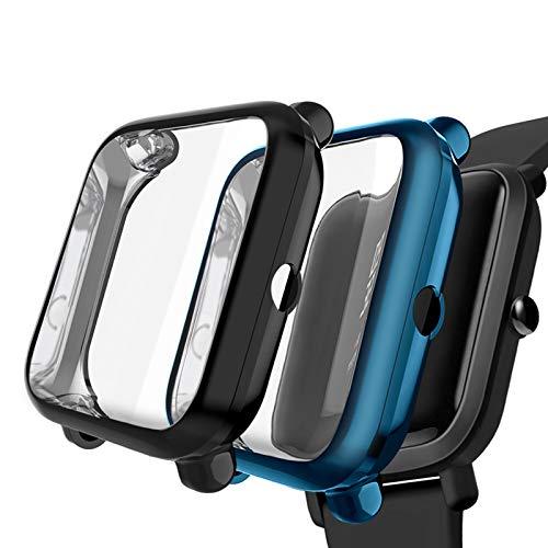 Kmasic Kompatibel für Amazfit Bip Schutzfolie Schutzhülle, Weiche Silikon Allround Hülle Stoßfeste Abdeckung Anti Scratch Schutzhülle für Huami Amazfit Bip Youth Smartwatch, 2 Pack Schwarz/Cool Blue