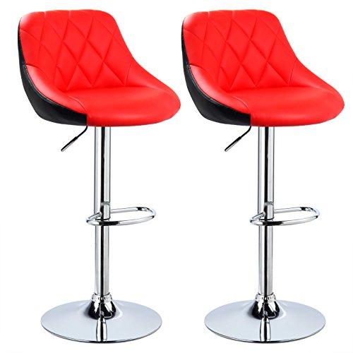 WOLTU BH30rt-2 Design 2 farbig Barhocker mit Griff, 2er Set, stufenlose Höhenverstellung, verchromter Stahl, Antirutschgummi, pflegeleichter Kunstleder, gut gepolsterte Sitzfläche, rot+schwarz