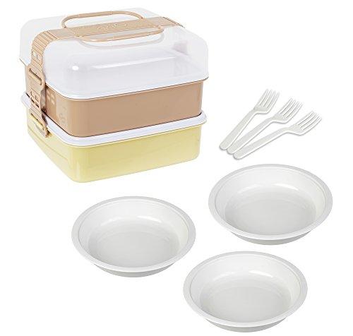 サンコープラスチック 弁当箱 ピクニックケース リオパック L型 2段 取り皿3枚・フォーク3本付き アースベージュ 約幅23.3×奥行22×高さ18.5cm