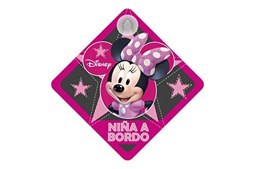 Minnie Spain MINNIE111 Cartel con Ventosa NIÑA A Bordo Disney Minnie Mouse para Coche 16 x 16 cm, Rosa