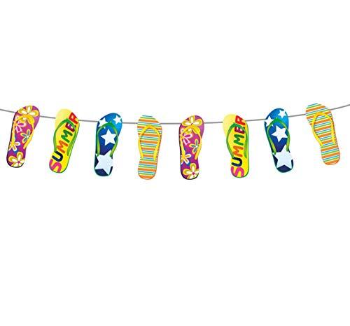 Folat 20715 Girlande im Flip-Flop-Design Sonniger Sommerspaß 10 m