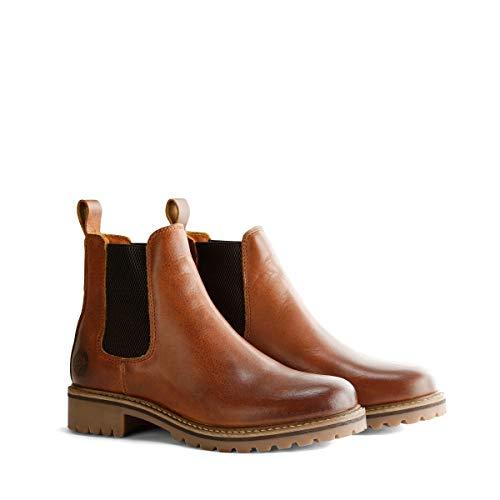 Travelin' Skjern Damen - Ankle Boots - Chelsea Boots - aus Leder & 100% Wolle Gefüttert - Cognac EU 40