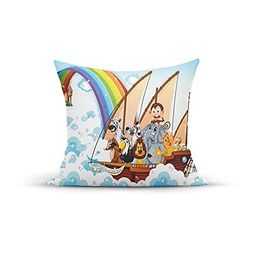 FULIYA, Funda decorativa para cojín con diseño de arca de Noé en nubes mullidas con diseño de dibujos animados, para dormitorio, sofá, sala de estar, 45,7 x 45,7 cm