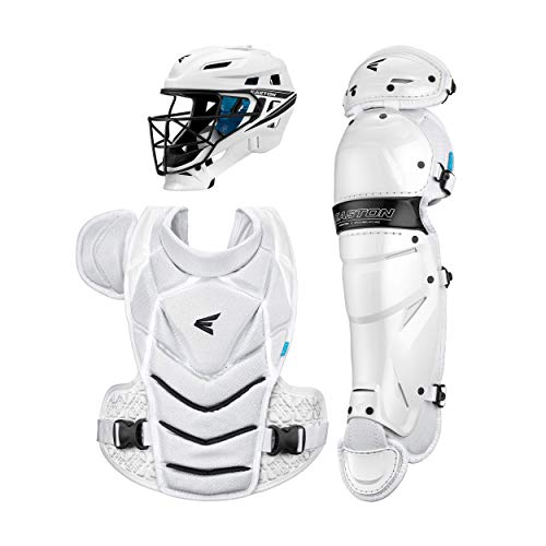 Easton JEN SCHRO THE VERY BEST Female Catchers Protective Box Set, Medium, White, 2021, Helmet 7 1/8 - 7 1/2 inch Hat Size, 16 Inch Two Piece Chest Protector, 14 inch Leg Guards + New IKP+