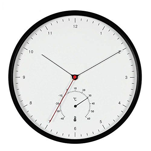 The only good quality Mooie ronde persoonlijkheid creatieve metalen digitale wandklok thermometer multifunctionele sweeping mute-klok zwart en wit twee kleuren mode