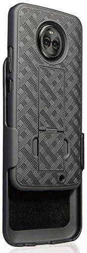 Motorola Moto Z3 Case,Motorola Moto Z3 Play Case, Belt Clip Holster Cover Shell Kickstand Criss Cross Black New Plaid Design for Motorola Moto Z3 Play