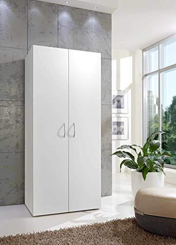 lifestyle4living Mehrzweckschrank in weiß mit viel Stauraum, Kleiderschrank mit 2 Türen und 6 Einlegeböden, Stauraumschrank B/H/T ca. 80/185/40 cm
