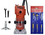 Inditrust 350 W 30000 RPM 6 mm Trimmer Router Machine Tool with 6 Bits for Wood Working