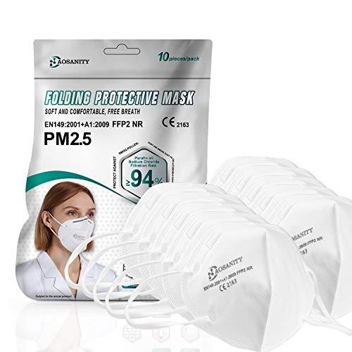 Mascarilla bucal 10X mascarilla FFP2 mascarilla, mascarilla respiratoria de 4 Capas, mascarilla protección Boca-Nariz con Tejido