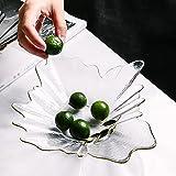 Piatto di frutta in vetro creativo, salotto irregolare tavolino da caffè insalataio, snack moderni e semplici snack piatto frutta secca Transparent-L