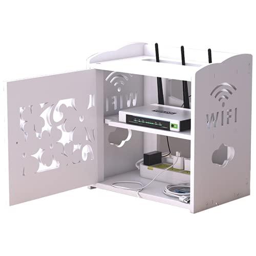 PWLDD Cajas De Almacenamiento WiFi Estante Decorativo,Caja De Almacenamiento Flotante Soporte De Estante para Enrutador WiFi Conjunto De Caja De Televisión Dispositivo De Medios