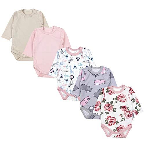 TupTam Baby Unisex Langarm Body mit Aufdruck Spruch 5er Pack, Farbe: Mädchen 6, Größe: 56