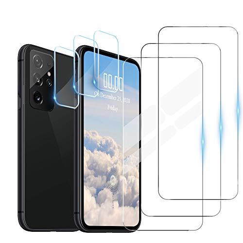 WeiCase 3 Pack Cristal Templado + 3 Pack Protector de Lente de Cámara para Samsung Galaxy S21 Ultra,HD[Resistente a los arañazos] [Sin Burbujas]