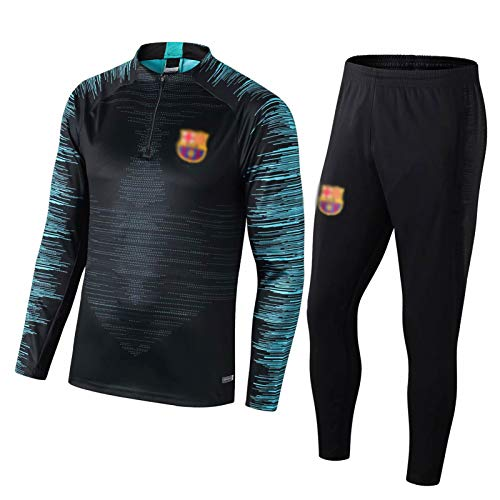 NSRJ Barcelona 19-20 Jungen Fußballtraining Uniform-Kinder Schwarz Langarm-Spiel Sweatshirt Clothes + Pants 2-teiliges Set 130-160CM 28