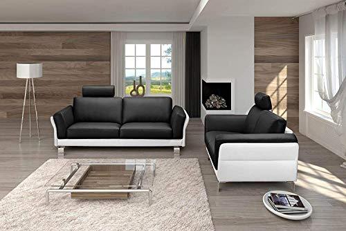 SAM Sofa Garnitur Negro, schwarz/weiß, 2-Sitzer ca. 192 cm + 3-Sitzer ca. 212 cm, pflegeleicht