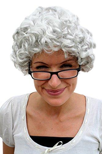 WIG ME UP - PW0035-K309 Perücke GRAU Locken Oma Omi Granny Alte Dame