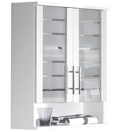 lifestyle4living Badezimmerschrank in Weiß, breit | Glas Hängeschrank mit 2 Türen, 1 Einlegeboden und 1 Stauraum-Fach
