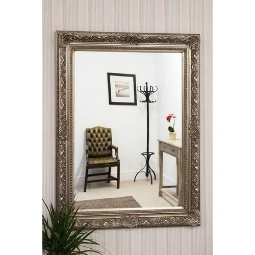 Ready To Hang Itv Show Supplier Large Antique Silver Ornate Embossed Shabby Chic Framed Bevelled Wall Overmantle Mirror 40inch X 30inch 101cm X 76cm Stunning Quality