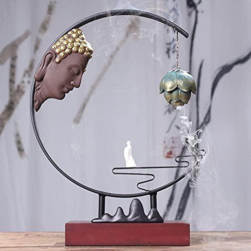 Buddhist Backflow Incienso Holder Holder Humo Incienso Buda Decoración Incienso Holdo del Quemador Aroma Conos Quemador Censher Queemador (Color : 1)