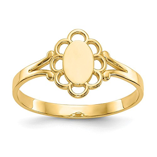 14k Yellow Gold Filigree Oval Center Baby Signet Band Ring Size 4.25 Fine Jewelry For Women Gifts For Her