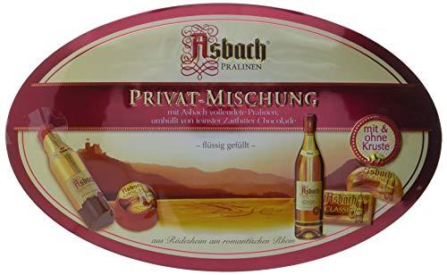 RCP Asbach Privat-Mischung, Schmuckdose, Zartbitter-Schokolade, Mit und ohne Kruste, Flüssige Füllung, Alkoholhaltig, Tolles Geschenk, 180 g